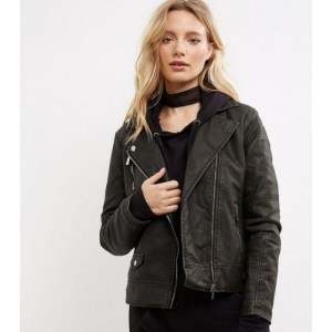 Washed Biker Look Leather Jacket For Womens