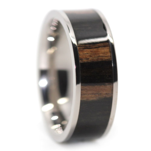 Titanium Mens Ring With Dark Hawaiian Koa Wood Centerpiece