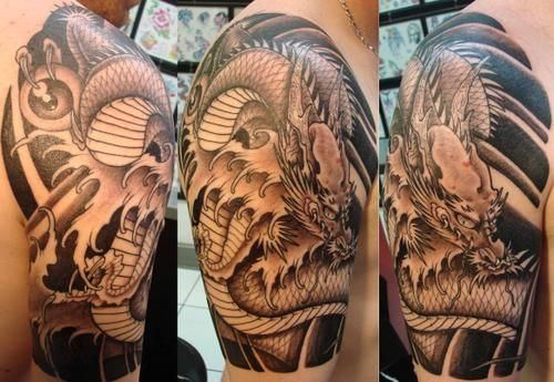 Forearm Half Sleeve Japanese Dragon Tattoo