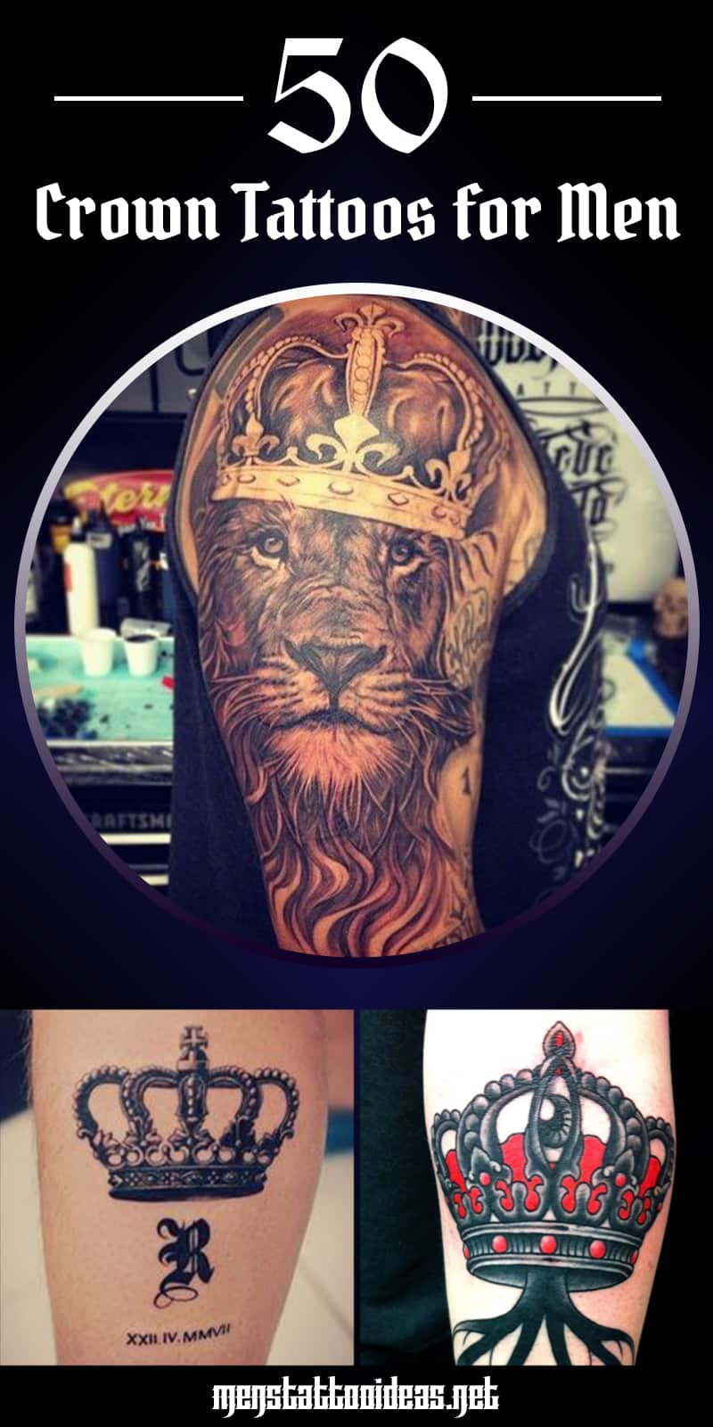 Simple King Crown Tattoo Designs