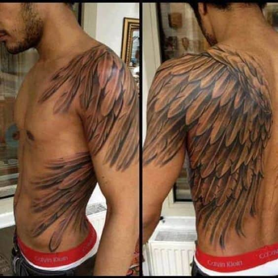 20 Black Wing Back Tattoos For Men Ideas And Designs