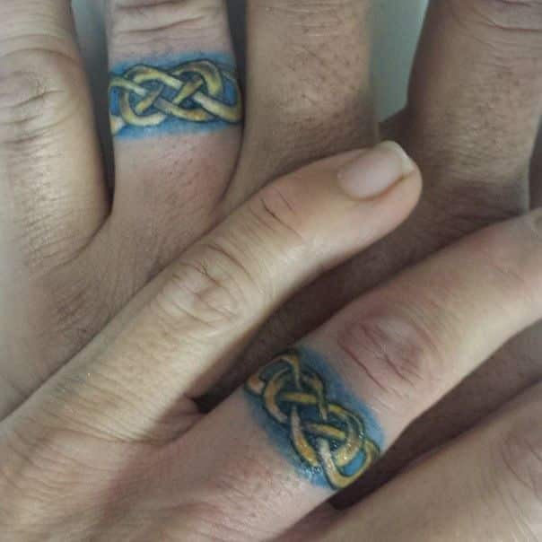 20 Colored Wedding Ring Tattoos Ideas And Designs