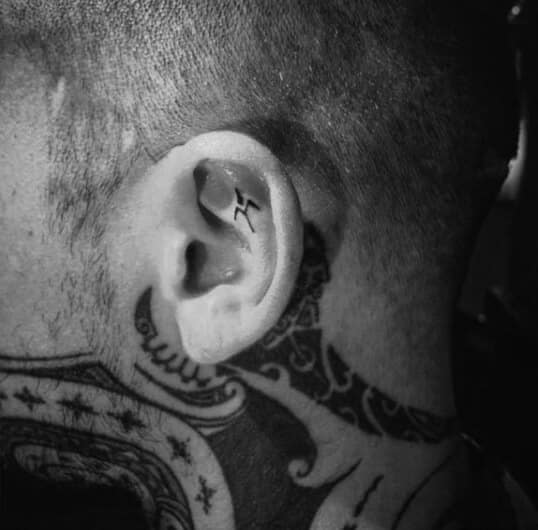 Behind The Ear Tattoo Men