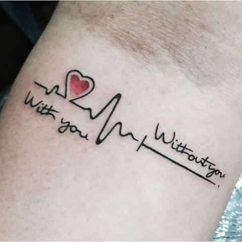 Heart Lifeline Tattoo Design