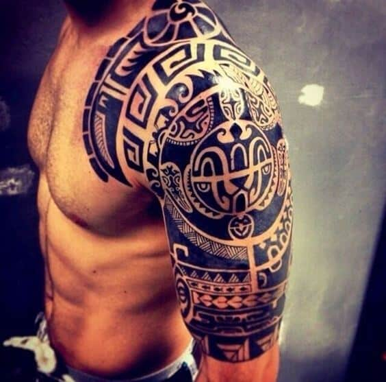 Shoulder Polynesian Tattoo Designs For Men