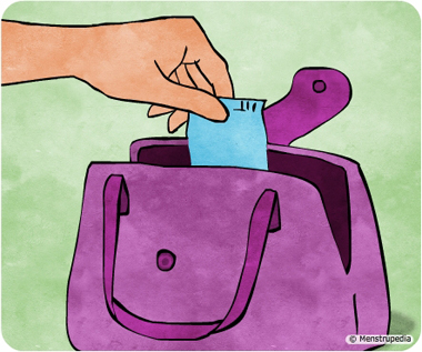 Illustration of keeping a sanitary pad or a tampon handy in a purse - Menstrupedia