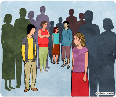 Illustration of adolescent boys and girls standing with their parents looking for an identity - Menstrupedia