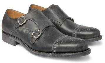 Monk strap shoe brogued