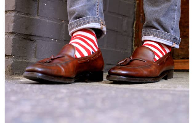 Tassel Loafer shoe with Jeans and stripped socks
