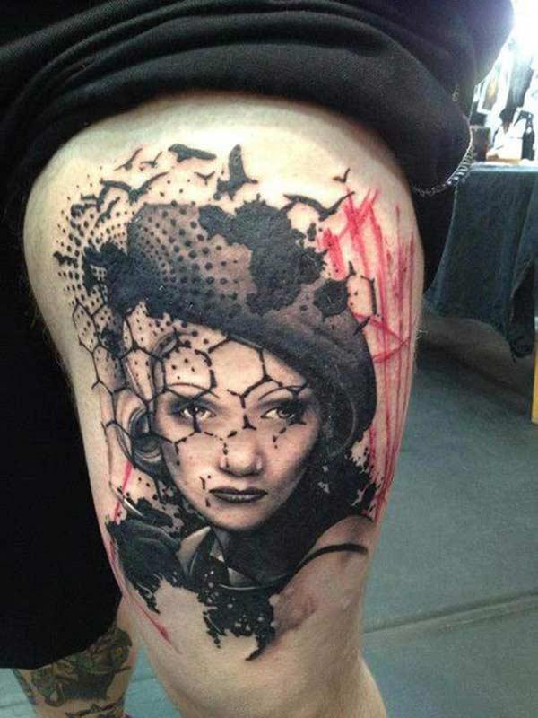 Tattoo, Woman face by Jacob Pedersen