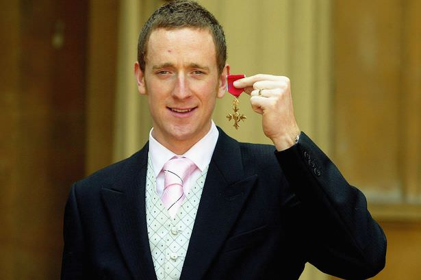 Olympic,medal,winning,cyclist,Bradley,Wiggins,after,receiving,OBE,from, the,Queen