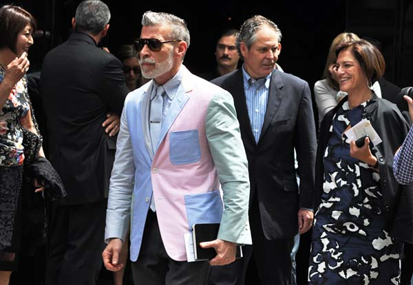 Nick Wooster, blue and pink blazers