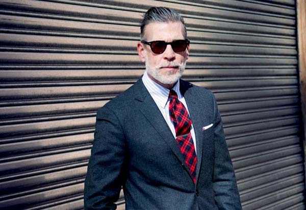 nick wooster sunglasses, chequered tie, suit