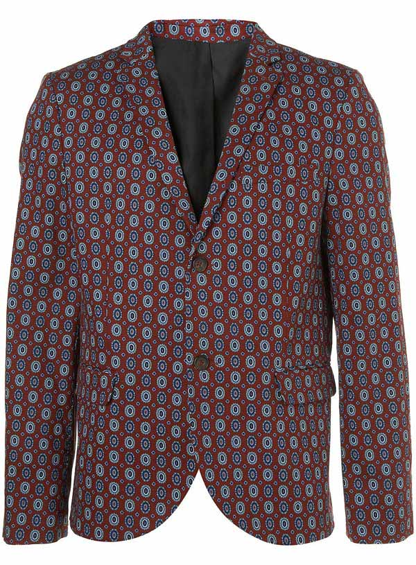 topman burgundy paisley print blazer for men