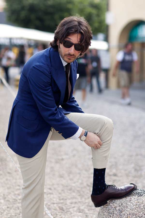 navy jacket rollups cuffs trousers