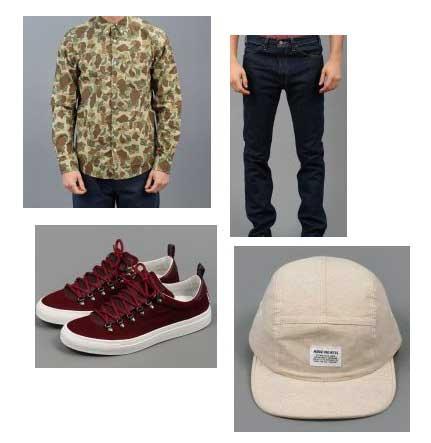 camo shirt, burgundy trainers, white cap