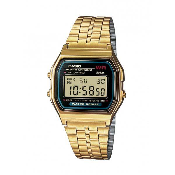 casio gold stainless steel bracelet a159wgea watch lcd