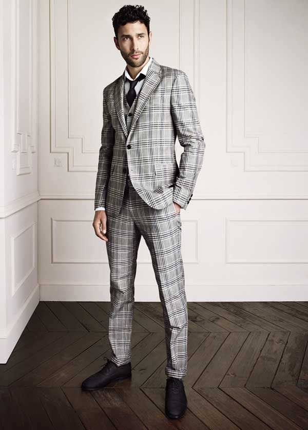 H.E Mango checkered grey suit for men 2013