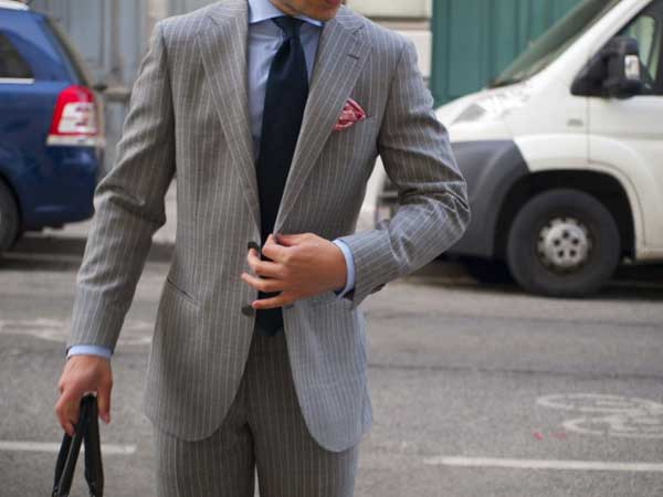 Pins triped suits for men grey
