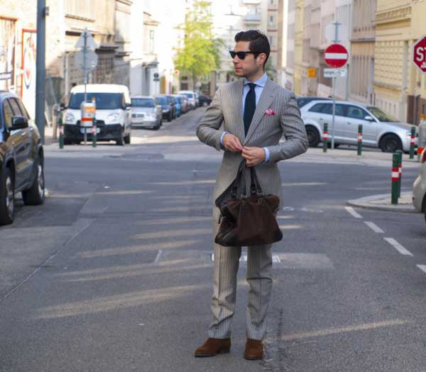 Pin stripe suits - grey with blue tie
