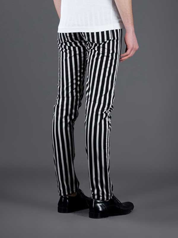 striped tousers for men black and white