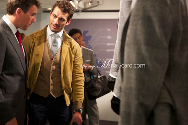 David Gandy inspecting the Marks & Spencer collection at London Collections Men