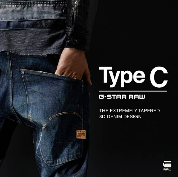 Type C, the extremely tapered 3D design. G _ Star Raw Jeans for men