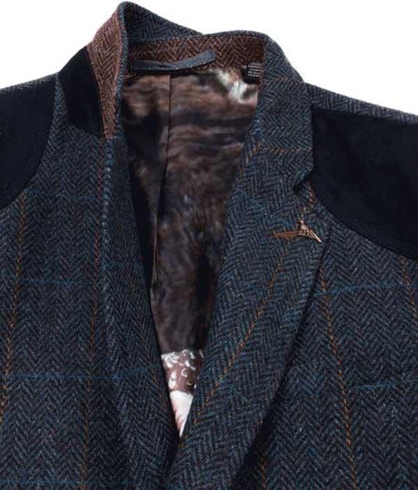 Ted Baker Blue Rythjak Wool Shetland Check Blazer  Product For Men