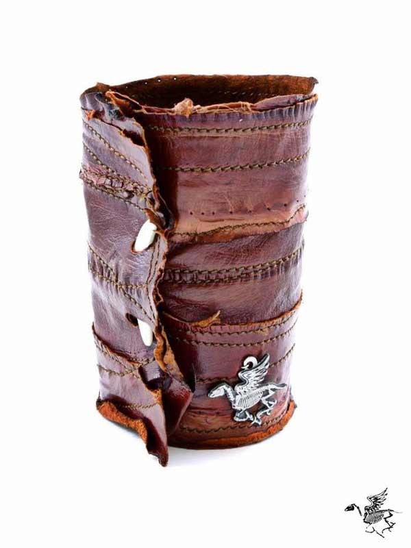 almond eel leather cuff