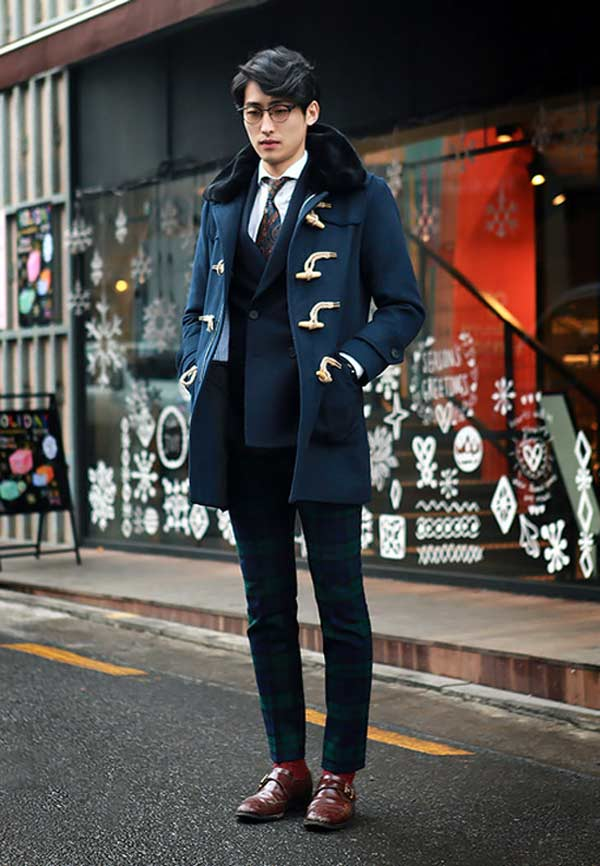 Fur blue Duffel coat with fur collar
