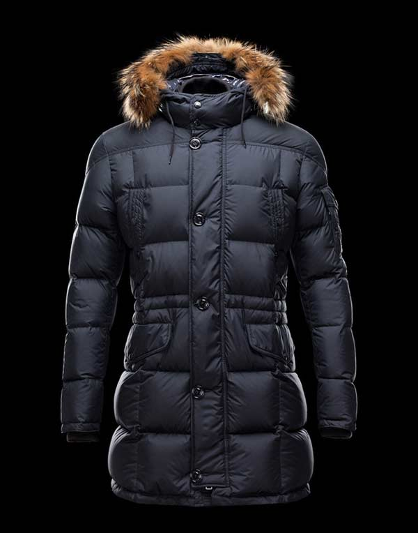 Moncler Down Men Coats Blue with hood