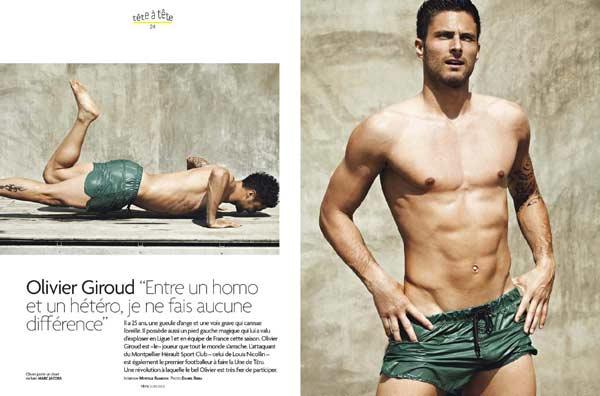 Olivier Giroud posing in a dedicated Gay magazine