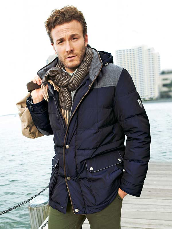 Nachtblau Quilted Jacket with tweed scarf
