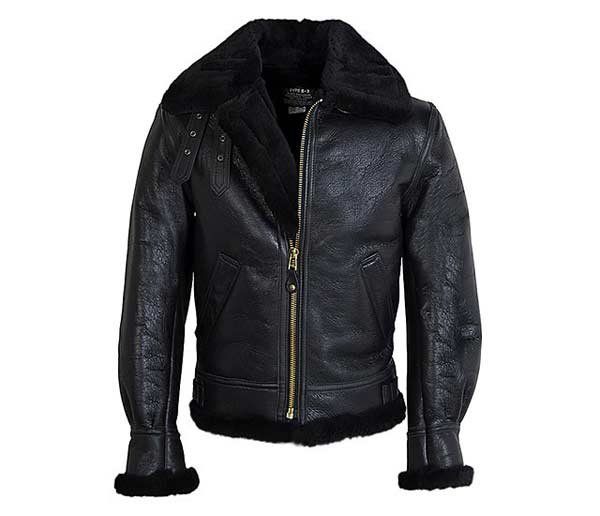 Shearling Leather Jacket black collar