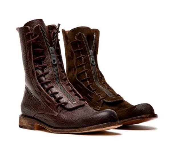 Boot leather brown lace ups for men