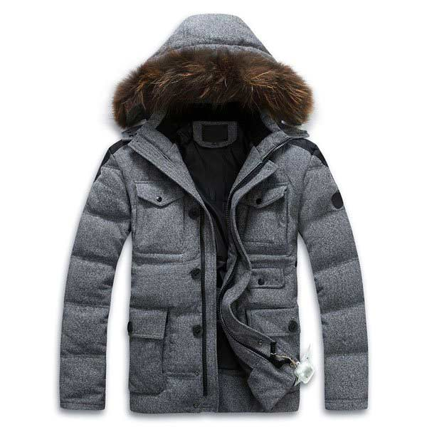 Detachable Hooded White Duck Down-Coat Real Fur Collar Down Jacket Men