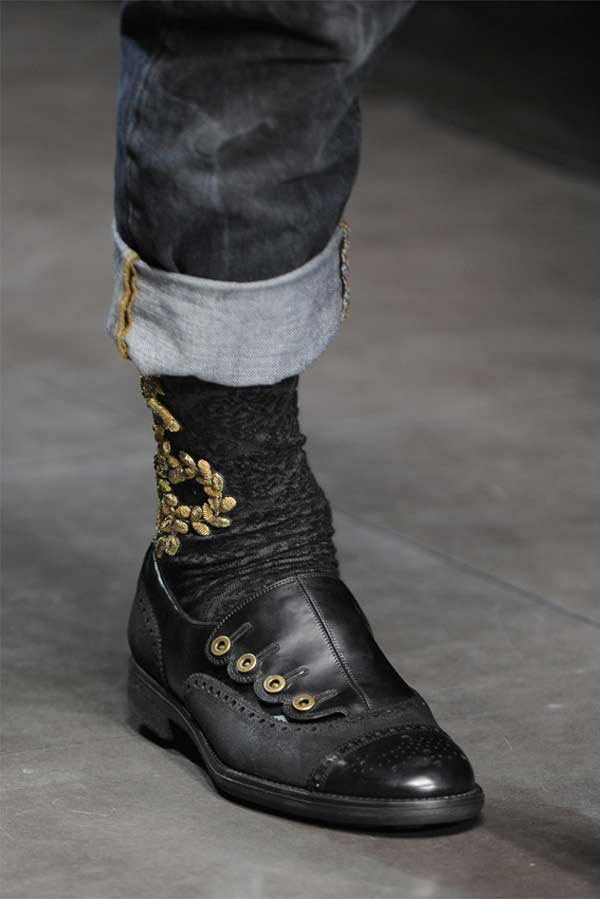Embroidered Leather Boots Dolce Gabbana gold