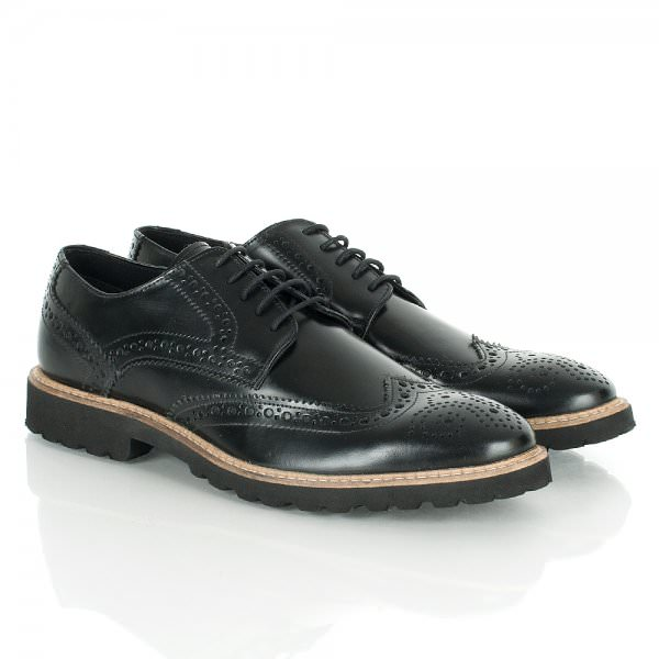 Daniel Boi Men's Patent Lace Up Brogue Black Leather