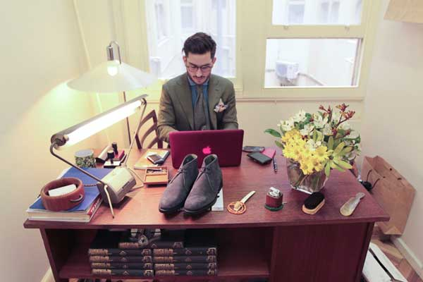 Desert Boots for men displayed on a desk