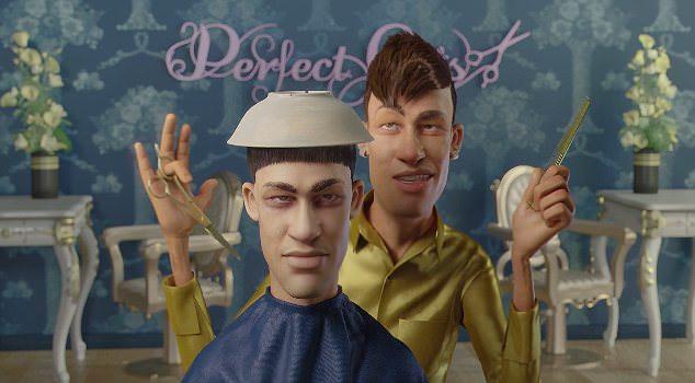Neymar as hairdresser