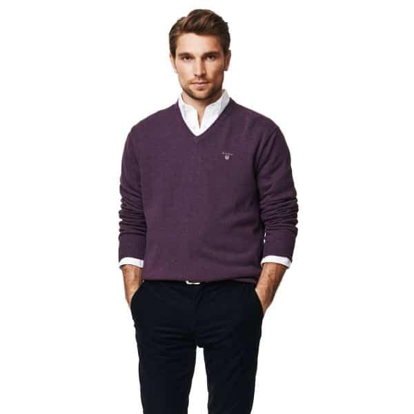 Gant knitwear Solid Cotton V-Neck Jumper