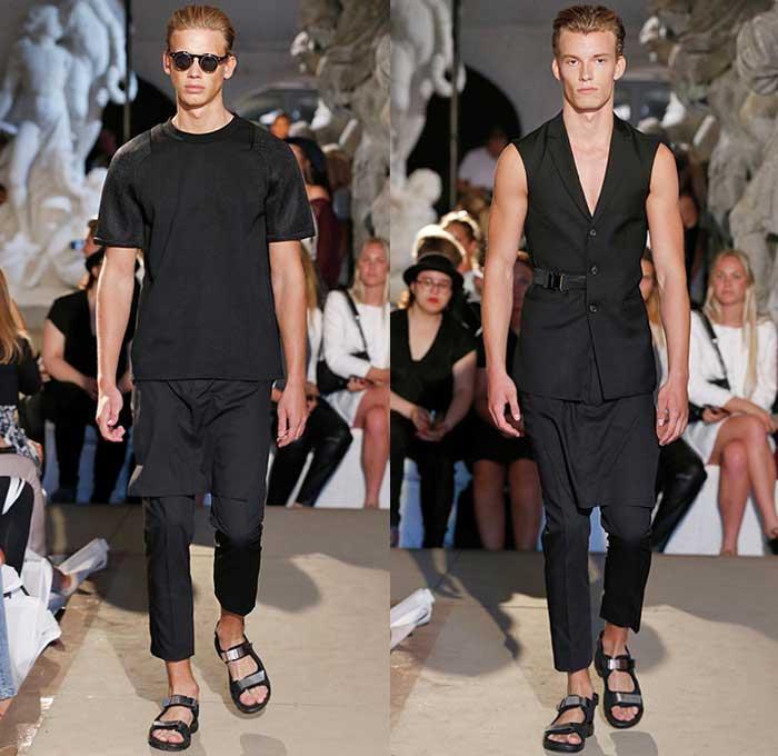 david-andersen-copenhagen-fashion-week-2015-spring-summer-mens-black-white-blazer-shorts-grosgrain-banded-strap-socks-sandals-biker-androgyny-bomber-03x