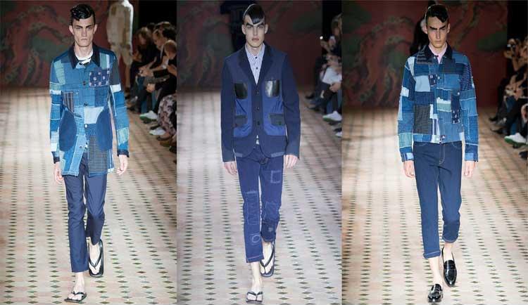Junya Watanabe catwalk with patchwork denim