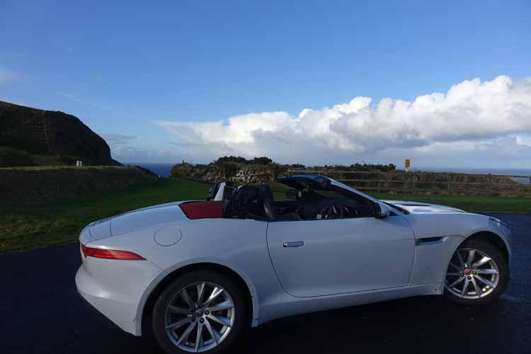 Jaguar F-type convertible causeway coastal Route Northern Ireland topless