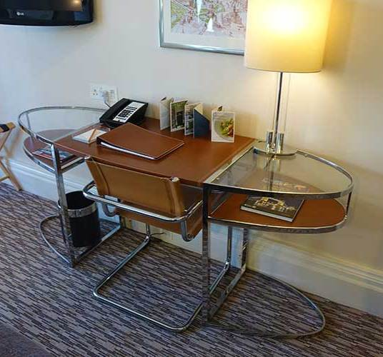 Leather covered Desk area