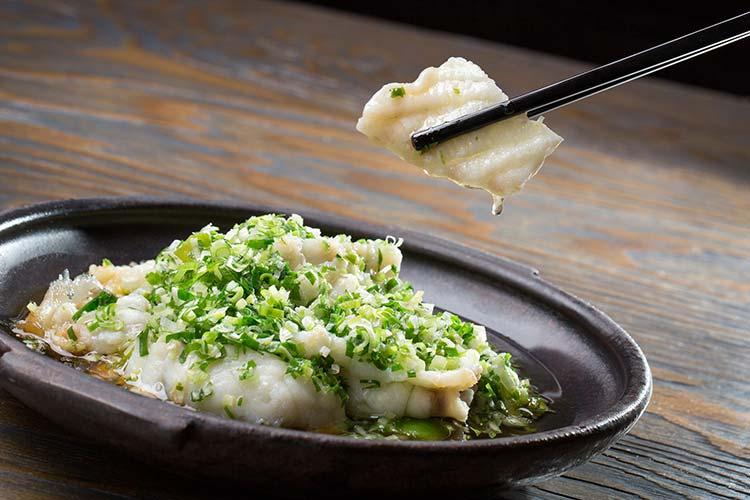Steamed Sliced Giant Garoupa with Spring Onions - Ya Ge Restaurant Mandarin Oriental Taipei