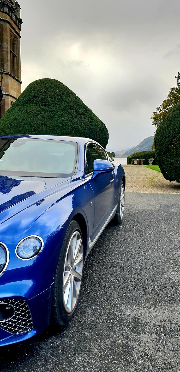 Bentley GT Continental - Grand Tourer Coupe Sequin Blue Armathwaite Hall Hotel & Spa in Lake district(