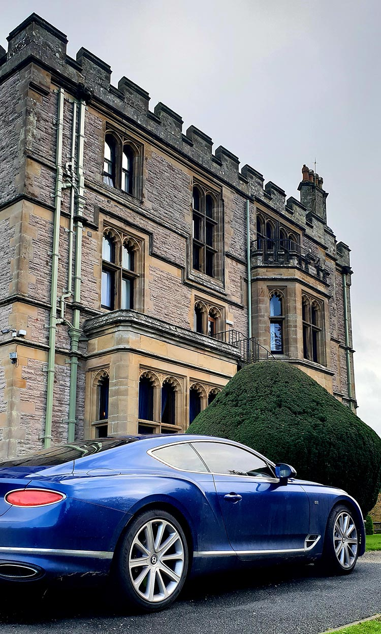 Bentley GT Continental - Grand Tourer Coupe Sequin Blue Armathwaite Hall Hotel & Spa in Lake district