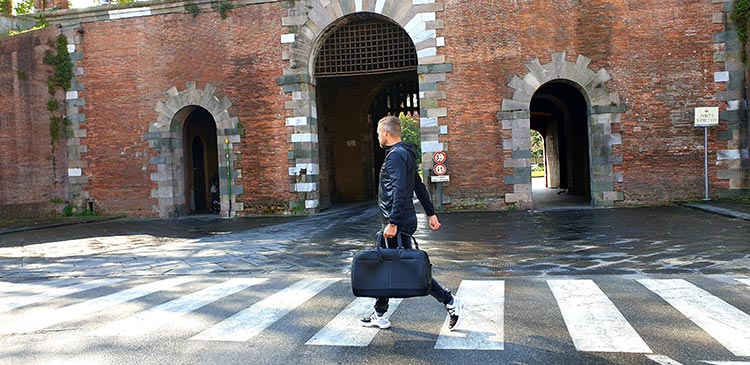 Taking the Bentley bag through Lucca italy