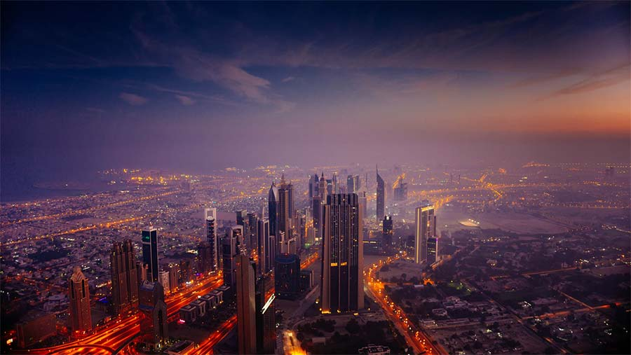 Dubai skyline at sunrise